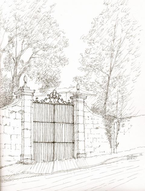 Le dessin de la semaine le portail en fer forg de la for Dessin de portail en fer forge
