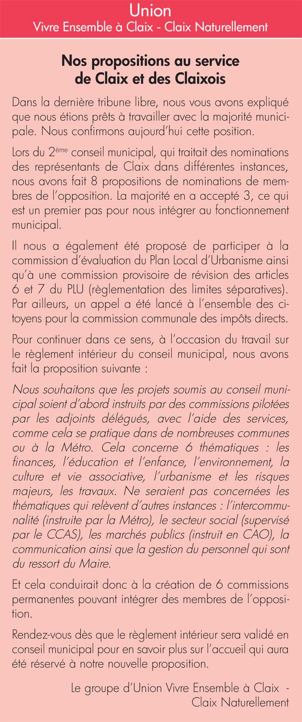 Tribune libre Claix Mag Groupe minoritaire