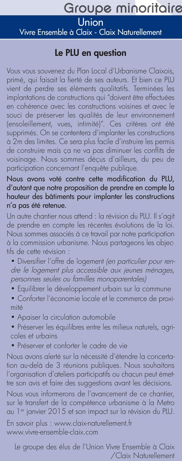 Tribune libre Claix Mag 98