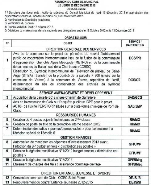 Ordre du jour du conseil municipal de Claix du 20 décembre 2012