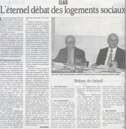 Le compte rendu du Conseil municipal de Claix du 23-05-2013 par le Dauphiné Libéré