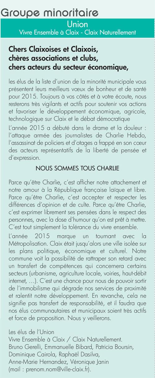 Tribune libre Claix Mag 99 février 2015 Charlie