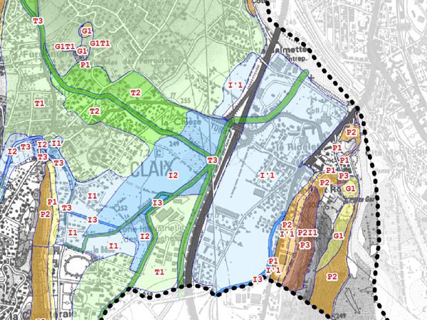 Zone inondables à Claix